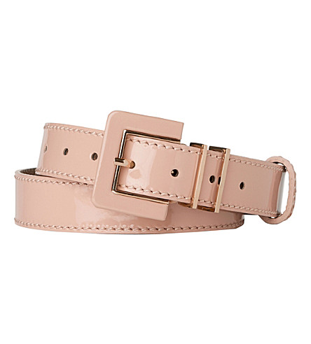 LK BENNETT Gena skinny patent leather belt (Pin-marshmallow