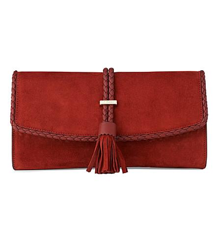 LK BENNETT Tracy leather clutch (Bro-rust