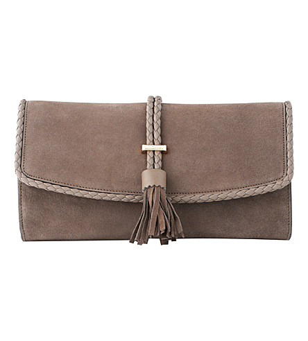 LK BENNETT Tracy leather clutch (Tau-taupe