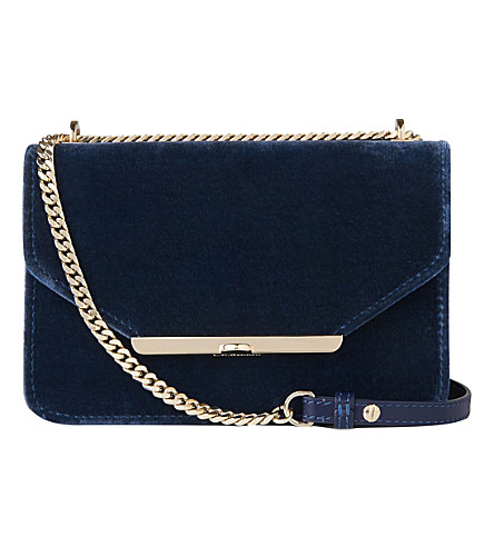 LK BENNETT Karla velvet and leather shoulder bag (Blu-powder+blue