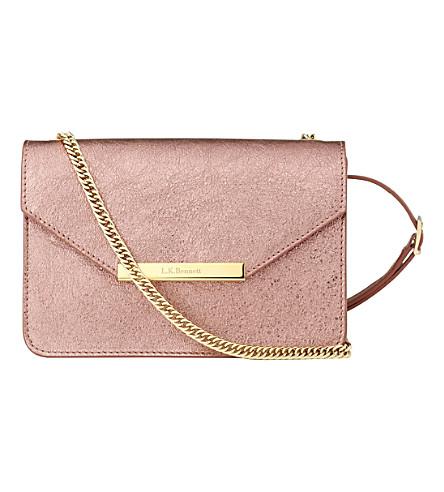 LK BENNETT Karla metallic leather shoulder bag (Pin-metallic pink