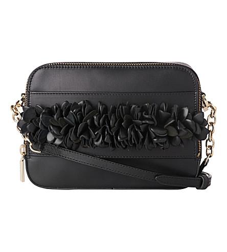 LK BENNETT Mia floral detail leather cross-body bag (Bla-black