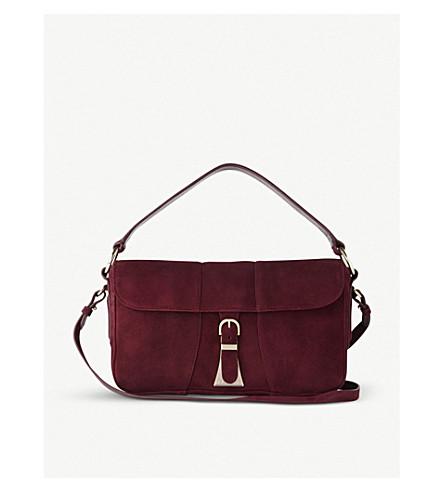 LK BENNETT Scarlett suede shoulder bag (Red-oxblood