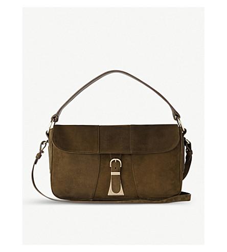 LK BENNETT Scarlett suede shoulder bag (Gre-dark+khaki