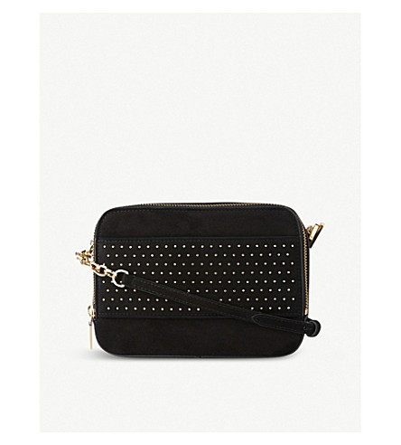 LK BENNETT Mia studded suede cross-body bag (Bla-black