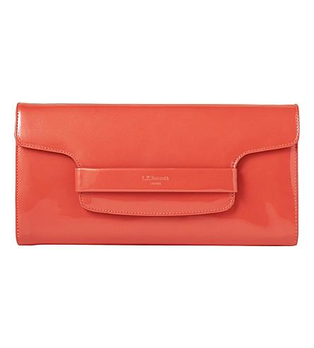 LK BENNETT Laura foldover leather clutch bag (Ora-cantaloupe