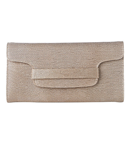 LK BENNETT Laura metallic lizard-effect leather clutch (Gol-plat+blush