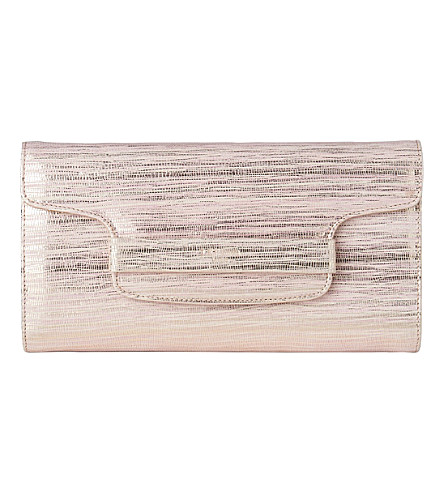 LK BENNETT Laura leather clutch (Pin-blush