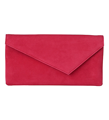 LK BENNETT Leonie leather asymmetric clutch (Pin-azalea