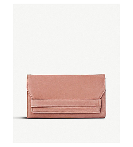 LK BENNETT Ella suede clutch bag (Pin-dark+pink