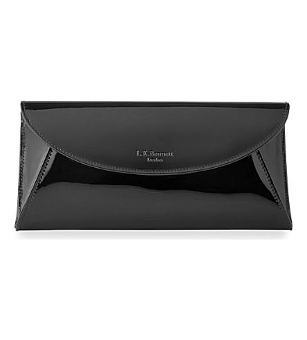 LK BENNETT Flo patent leather envelope clutch bag (Bla-black