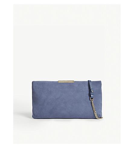 LK BENNETT Flora suede clutch (Blu-powder+blue