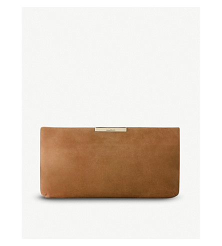 LK BENNETT Flora suede clutch (Bro-light+biscuit