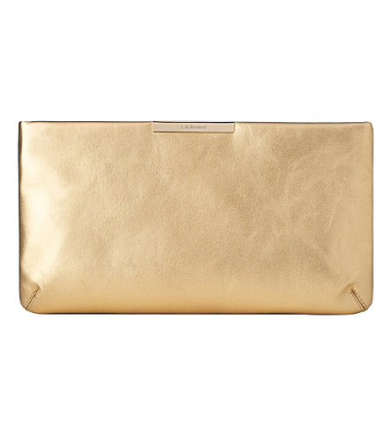 LK BENNETT Flora metallic-leather clutch (Gol-soft+gold