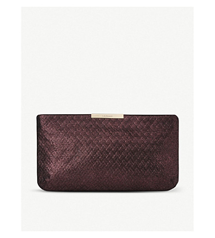 LK BENNETT Flora textured metallic-leather clutch (Pur-loganberry