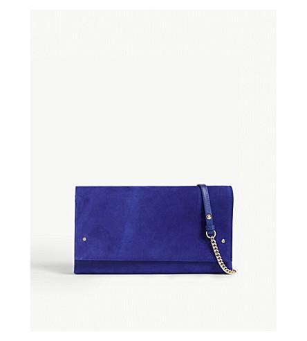 LK BENNETT Madeline suede clutch (Blu-ultra+blue