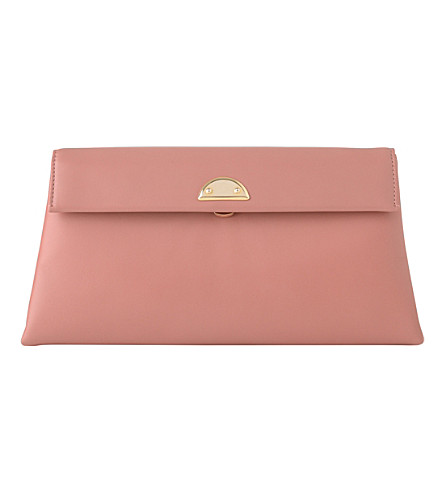 LK BENNETT Miriam fold-over leather clutch bag (Pin-dark+pink