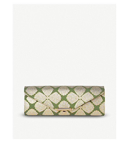 LK BENNETT Cecilia jacquard lurex clutch (Gre-light+green