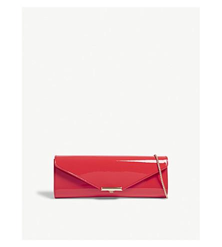 LK BENNETT Cecilla patent leather clutch (Ora-geranium