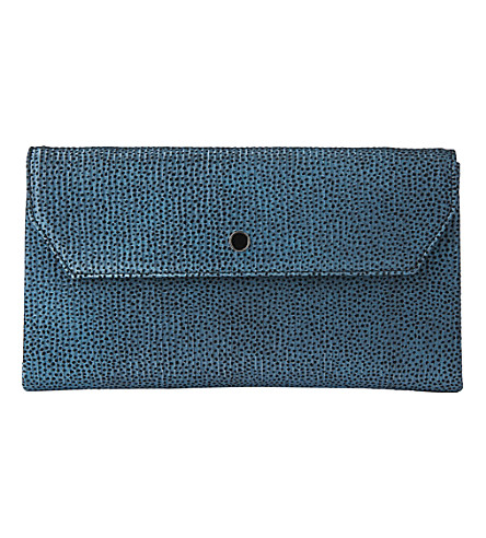 LK BENNETT Dora metallic flocked leather clutch (Blu-powder+blue