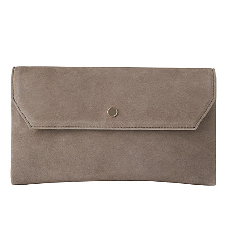 LK BENNETT Dora suede envelope clutch (Gry-silver+birch