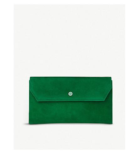 LK BENNETT Dora suede clutch bag (Gre-mint+leaf
