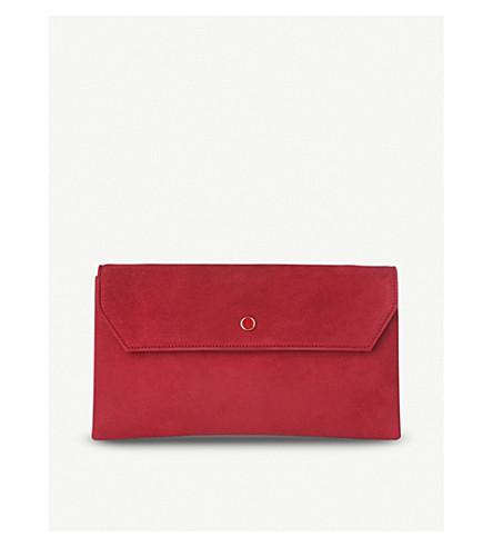 LK BENNETT Dora suede envelope clutch (Red-poppy