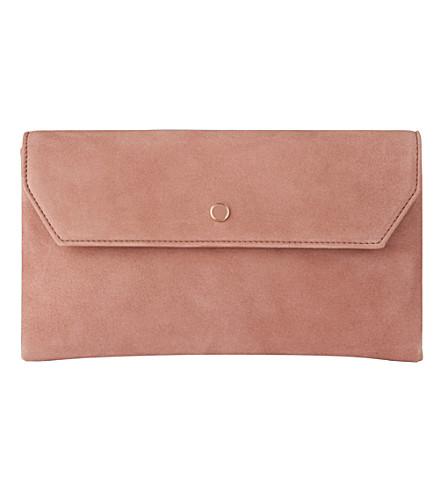 LK BENNETT Dora suede envelope clutch (Pin-dark+pink