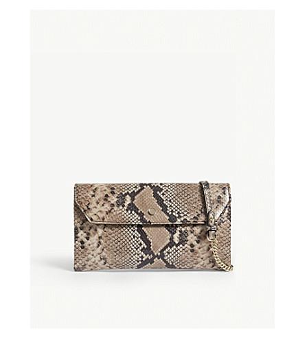 LK BENNETT Dora snake-embossed leather clutch (Pri-natural