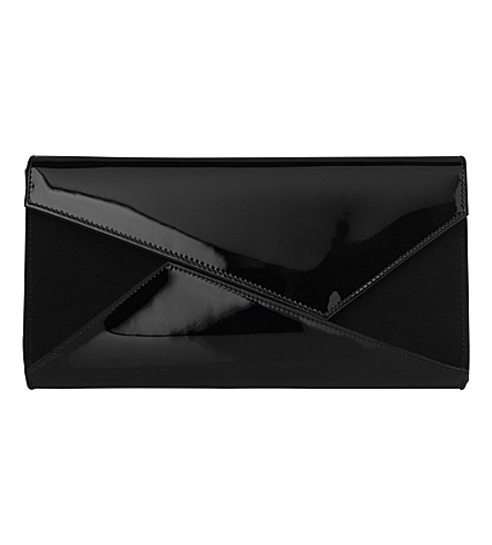 LK BENNETT Lindy leather and suede clutch bag (Bla-black