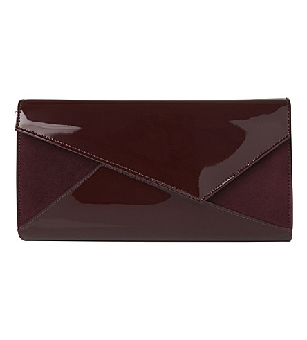 LK BENNETT Lindy leather and suede clutch bag (Red-oxblood