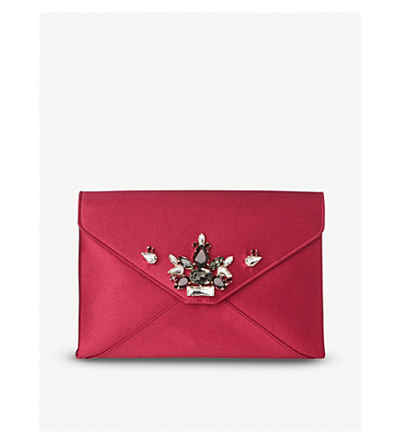 LK BENNETT Alena satin envelope clutch (Pin-raspberry