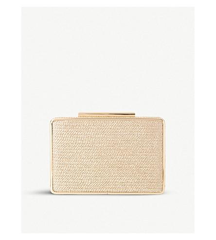 LK BENNETT Nina metallic rattan box clutch (Gol-pale+gold