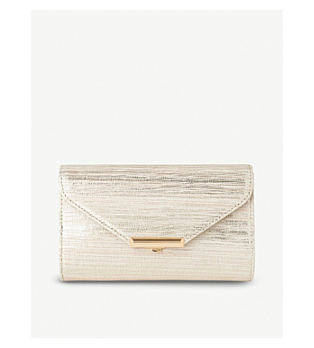 LK BENNETT Sissi metallic-leather clutch (Gol-soft+gold