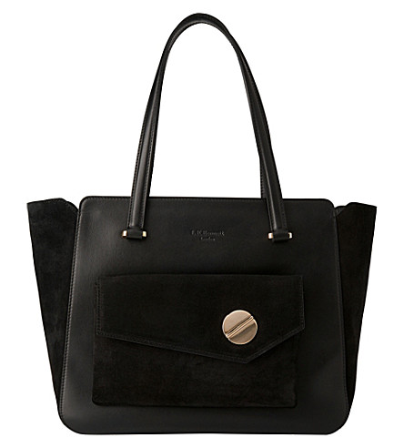 LK BENNETT Natasha leather and suede tote bag (Bla-black