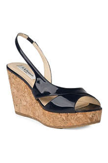 LK BENNETT Adelia patent cork wedge sandals