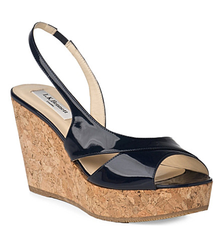 LK BENNETT Adelia patent cork wedge sandals (Blu-navy