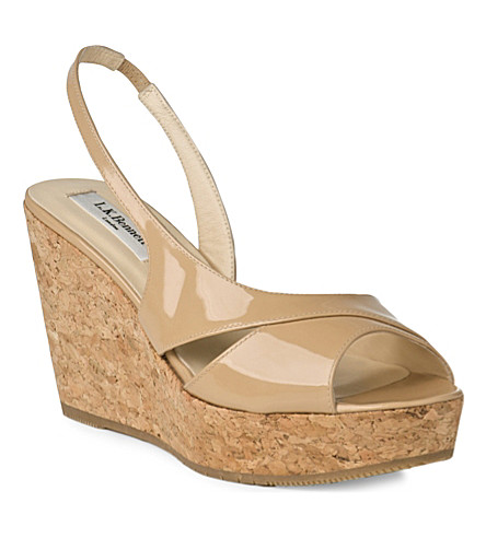 LK BENNETT Adelia patent cork wedge sandals (Tau-taupe