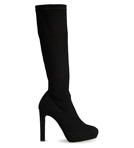 LK BENNETT Ali suede knee-high boots (Bla-black