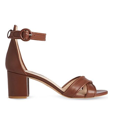 LK BENNETT 大佬皮革高跟鞋凉鞋 (棕褐色)