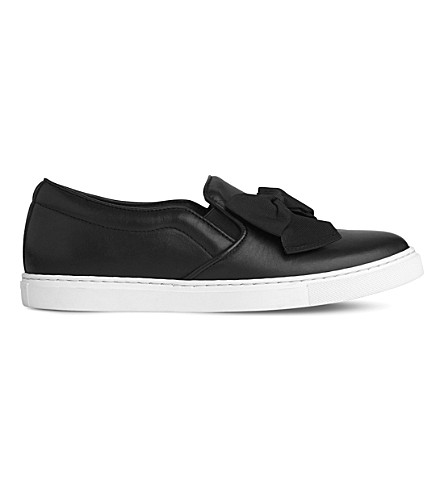 LK BENNETT Beca bow-embellished leather skate shoes (Bla-black