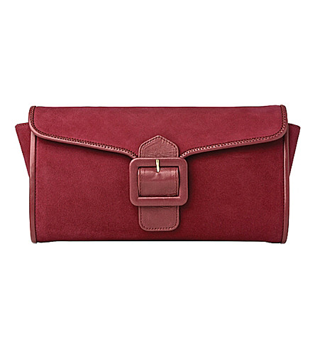 LK BENNETT Bella suede clutch (Pin-power pink