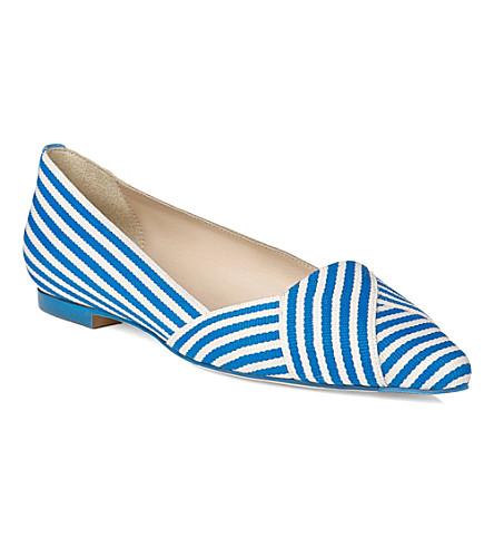 LK BENNETT Dale pointed toe flats (Blu-azurewhite