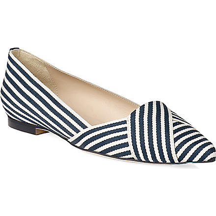 LK BENNETT Dale pointed toe flats (Blu-navywhite