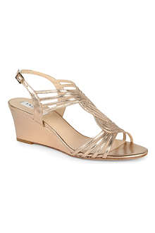 LK BENNETT Dunes metallic wedge sandals