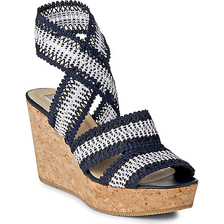 LK BENNETT Eimear cork wedge sandals (Blu-navy