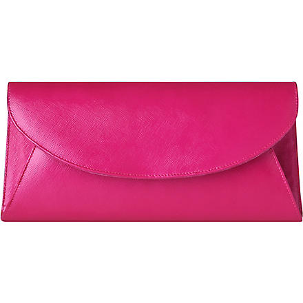 LK BENNETT Flo saffiano leather envelope clutch (Pin-fuchsia