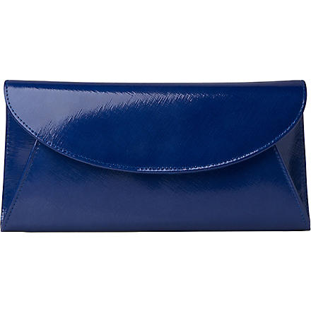LK BENNETT Flo saffiano patent leather clutch (Blu-ultra blue