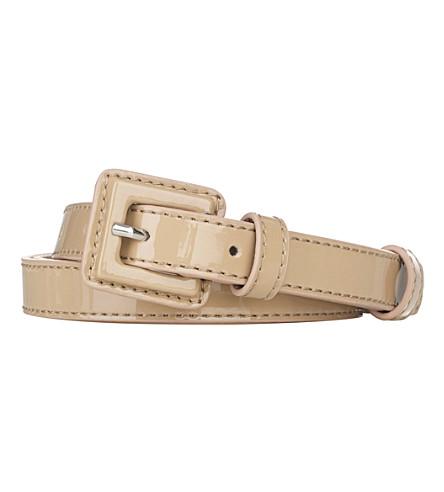 LK BENNETT Genevra patent leather skinny belt (Tau-taupe