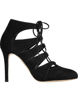 LK BENNETT Honor lace-up suede court shoes